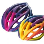 Bicycle helmet prototypes in vivid, vibrant colours
