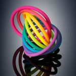 Interlocking toy in vibrant colours pink red orange yellow lime green blue purple violet